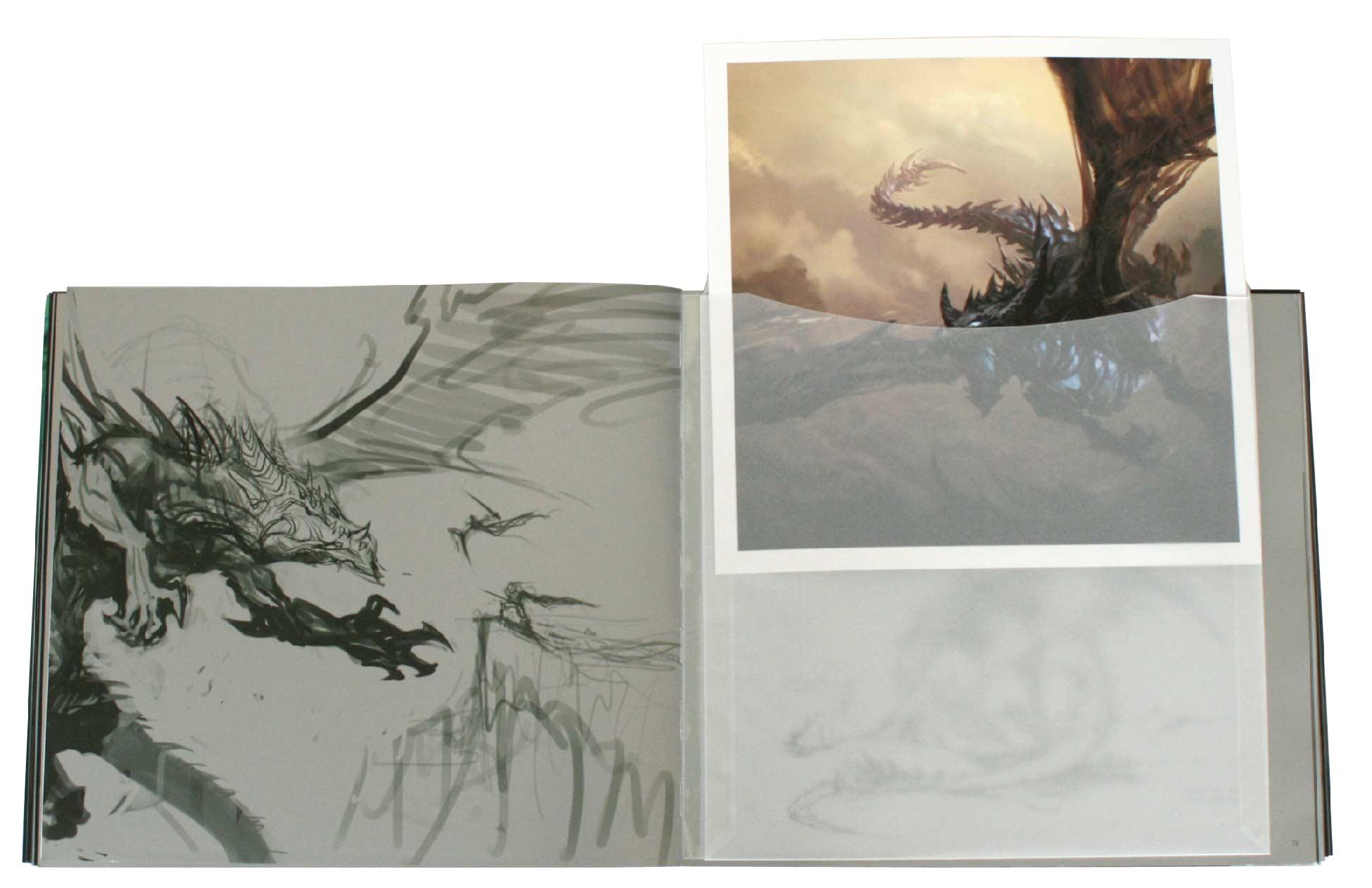 deux tirages d'art sont rangé dans des enveloppes au milieu du livre