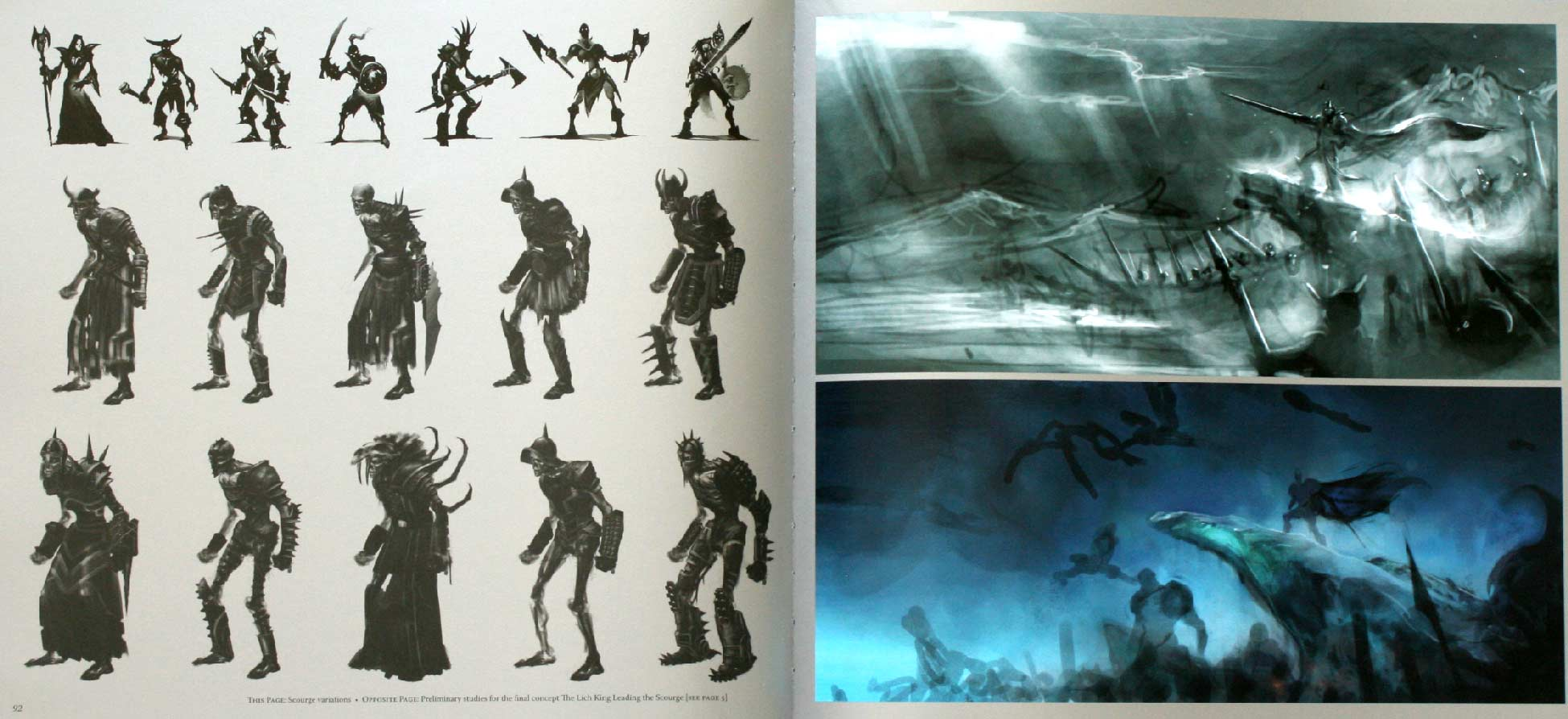 Page 92 et 93 de l'art book The Cinematic Art of Warth of the Lich King (World of Warcraft)