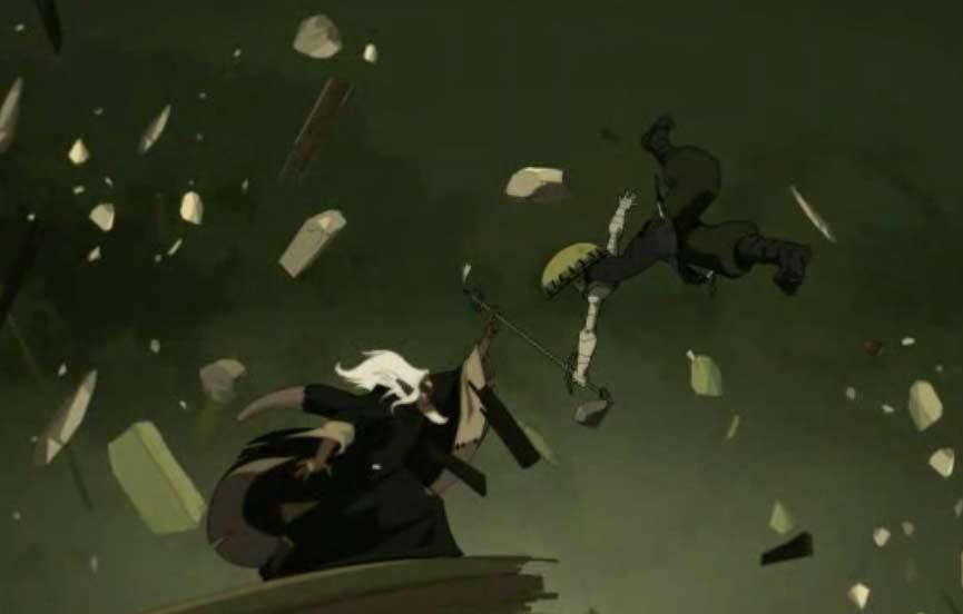 Malgré son pouvoir lui permettant de bloquer le temps, Nox n'arrive pas à vaincre Grougaloragran