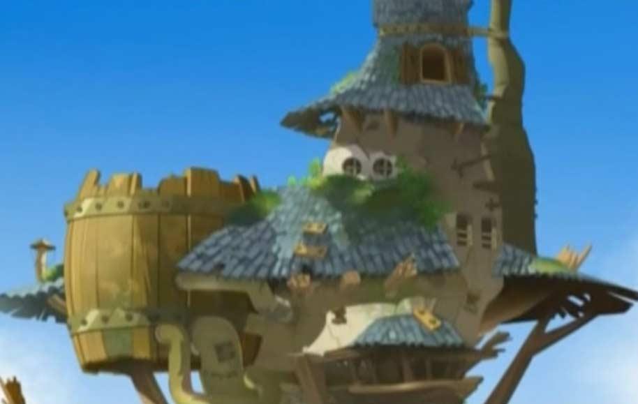 Tristepin se sert des cheveux de Ydalip comme d'une corde pour atteindre le sommet du château