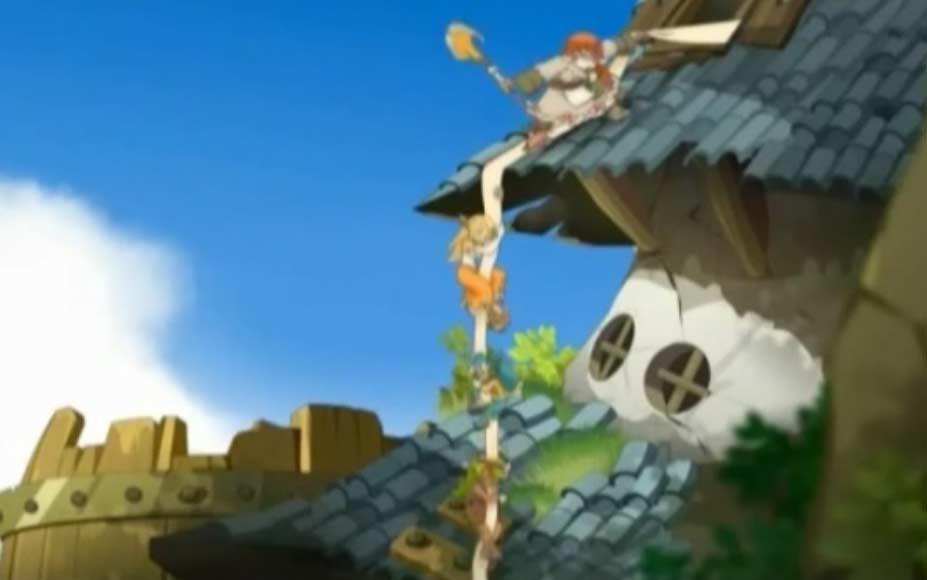 la princesse Enka aide Tristepin et ses amis à s'enfuir
