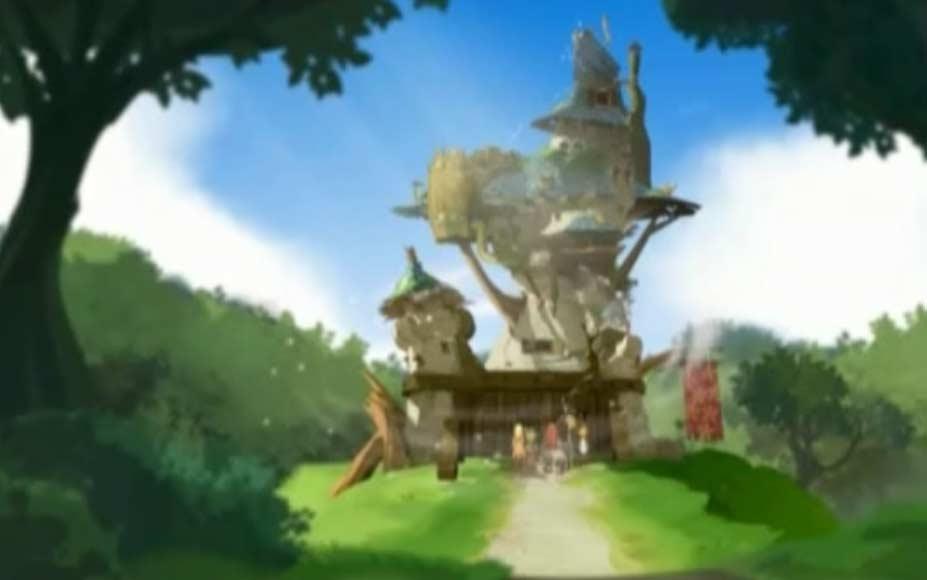 Le maléfice est levé par le baiser de Tristepin et le château se transforme aussi