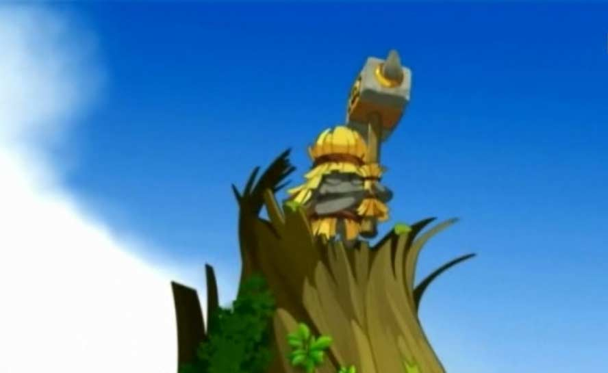 La statue du héros flaqueux Persimol