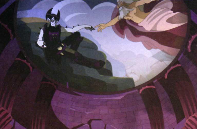 la peinture du plafond du château de Vampyro est une allusion à la Chapelle Sixtine