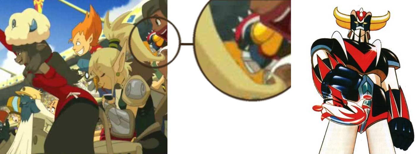 Goldorak apparaît juste derrière Miranda caché dans les spectateurs (Wakfu épisode 10)