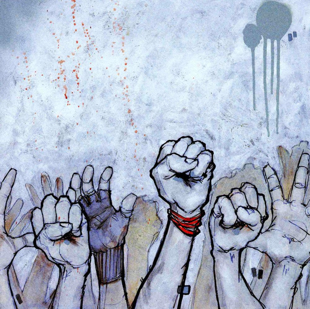 Rise Up, peinture tirée de Back de Diamonds, Spades, Hearts & Clubs' par Mike Shinoda