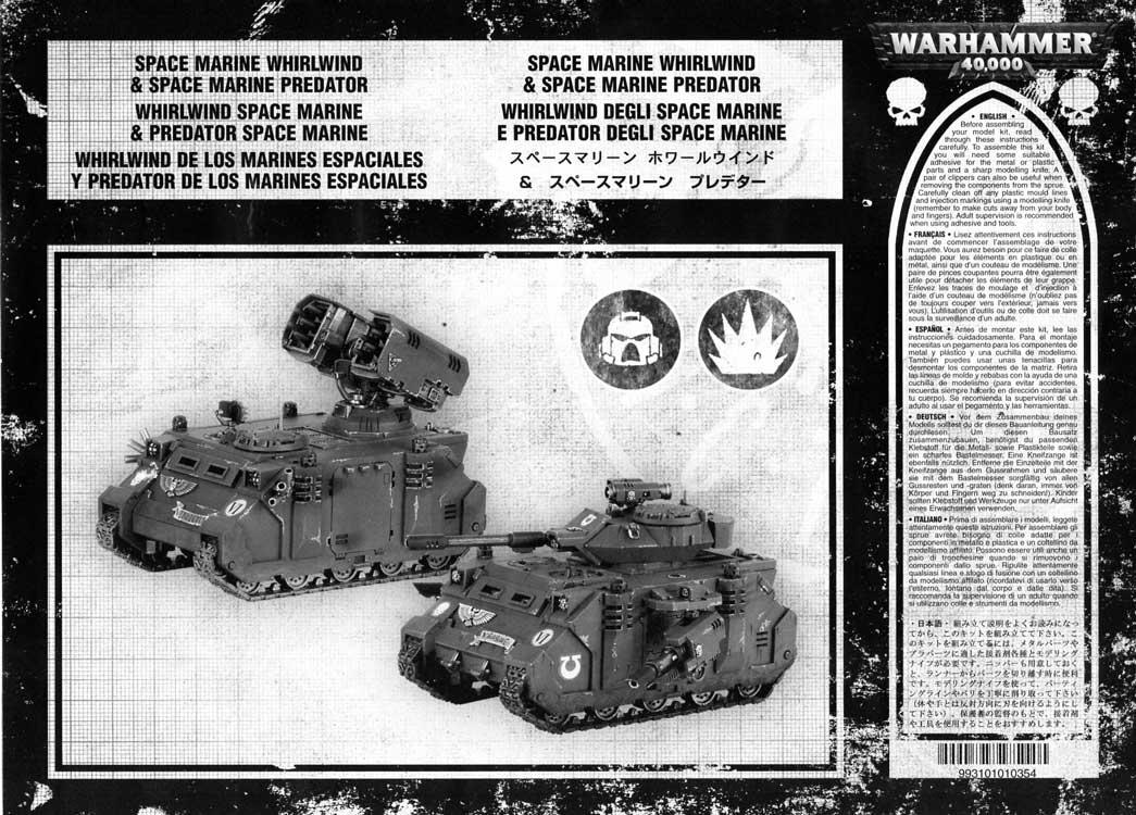Notice P1 Tank Predator (Space Marine - Warhammer 40.000)