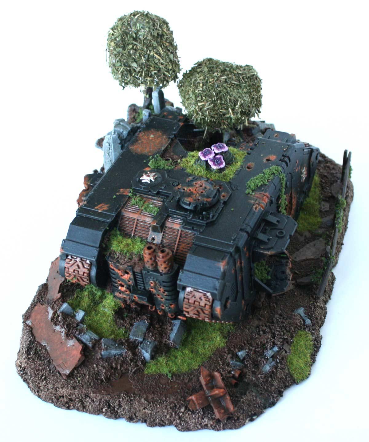 Diorama Black Templar (épave de Land Raider) Warhammer 40K