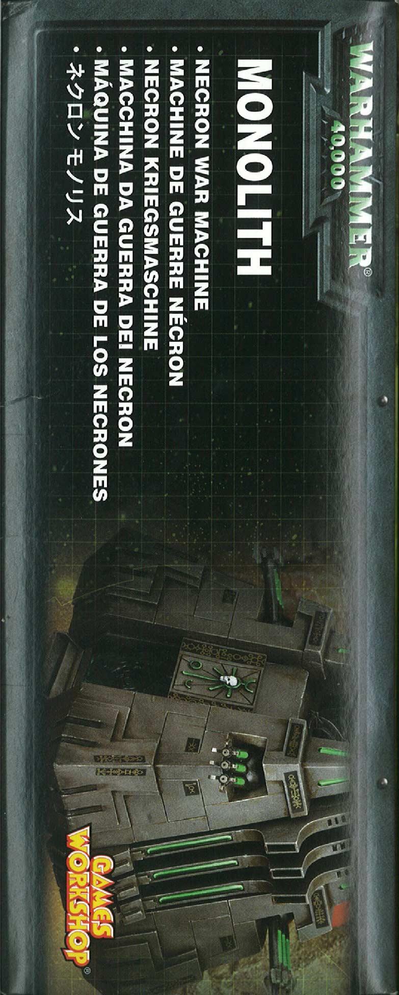 Côté gauche du packaging du Monolithe Nécron (Warhammer 40.000)