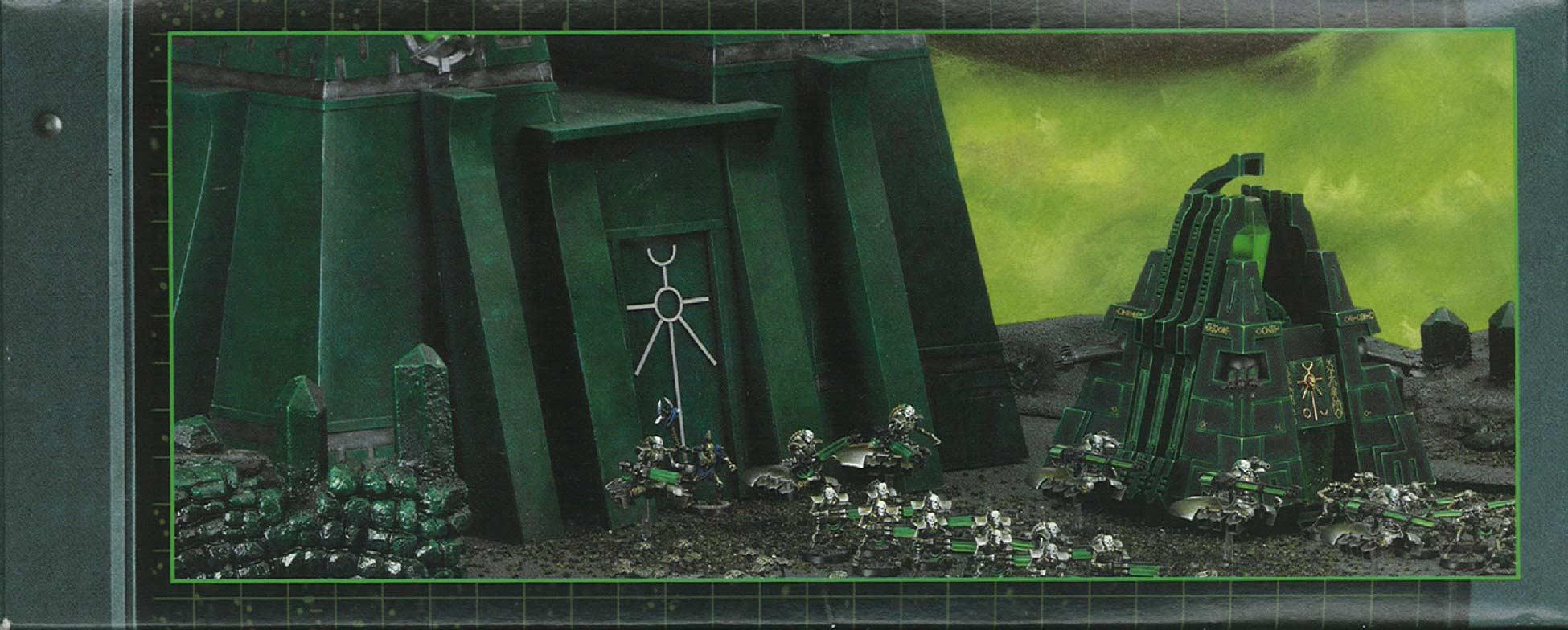 Côté gauche du fond du packaging du Monolithe Nécron (Warhammer 40.000)