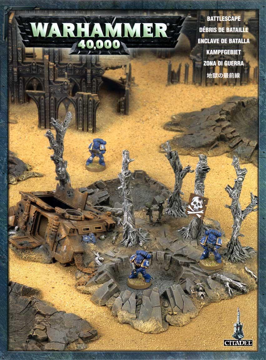 Packaging de l'épave de Rhino et débris de batailles (décor Warhammer 40.000)