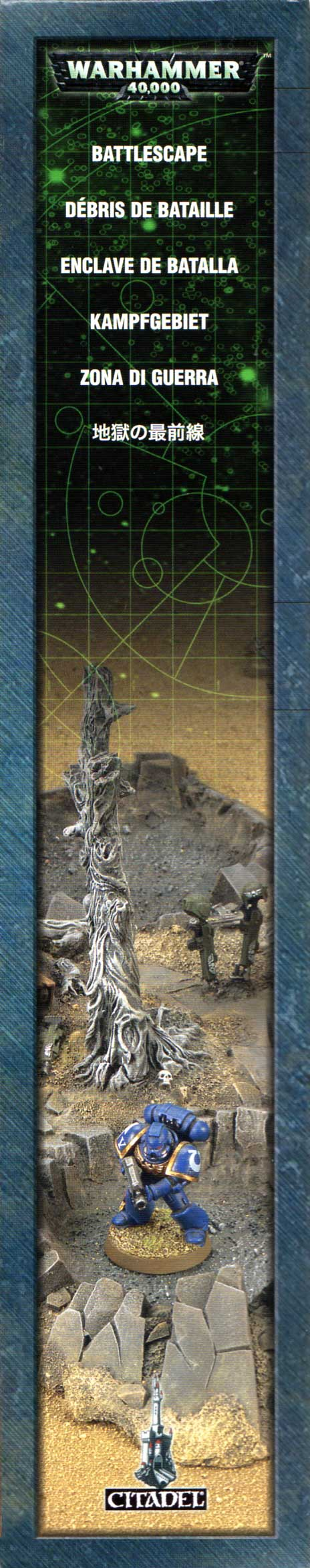 Packaging gauche de l'épave de Rhino et débris de batailles (décor Warhammer 40.000)