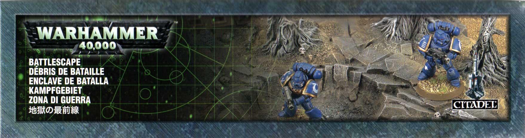 Packaging haut de l'épave de Rhino et débris de batailles (décor Warhammer 40.000)