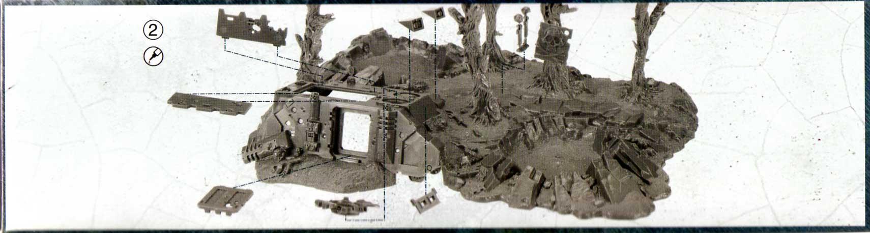 notice de montage de l'épave de Rhino et débris de batailles (décor Warhammer 40.000)