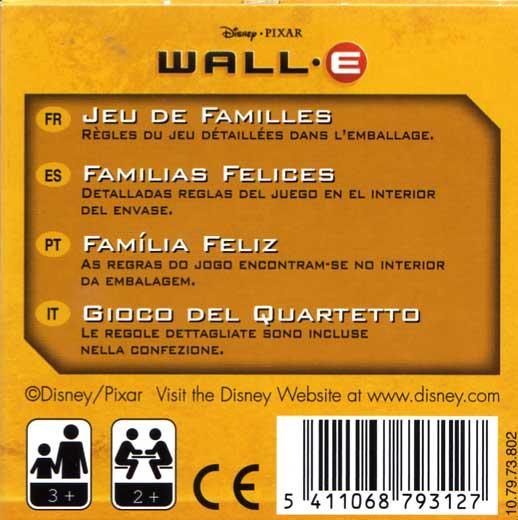 Jeu de familles Wall-E (Cartamundi 2008) boite dos