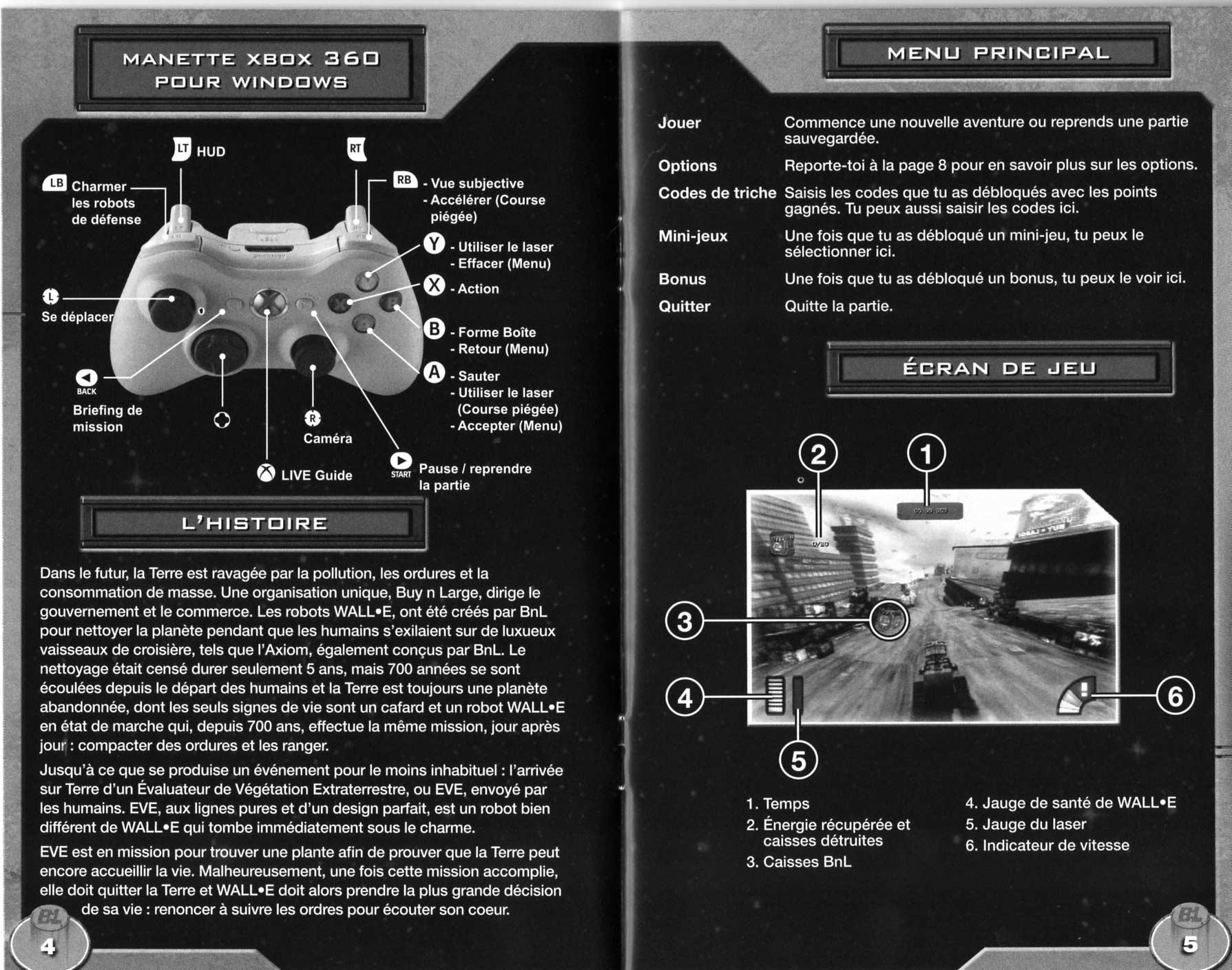 notice p 4 et 5 Wall-E (2008 Jeu vidéo THQ pour PC et MAC)