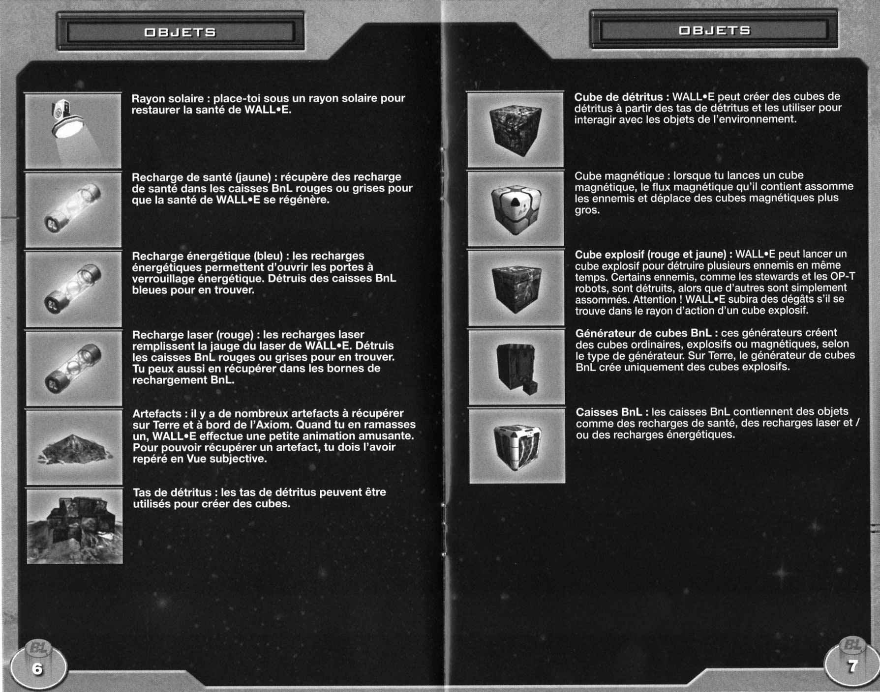 notice p 6 et 7 Wall-E (2008 Jeu vidéo THQ pour PC et MAC)