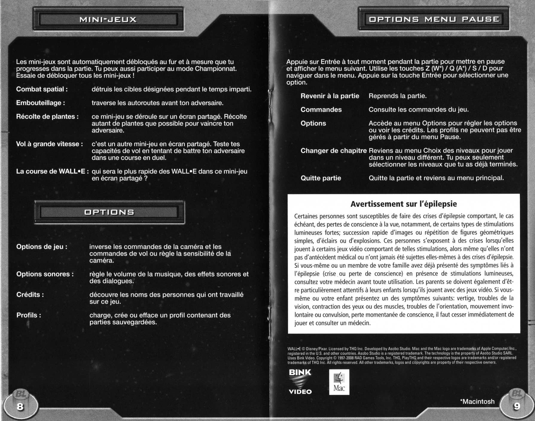 notice p 8 et 9 Wall-E (2008 Jeu vido THQ pour PC et MAC)