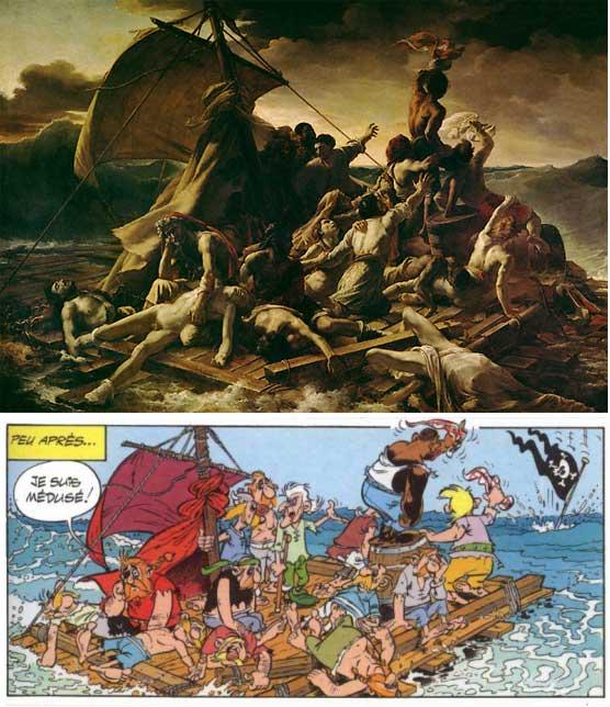 Le le Radeau de la Méduse de Théodore Géricault et sa version détournée dans Astérix