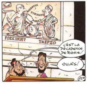 À l'enregistrement à l'entrée du village olympique, un bas-relief représente Goscinny et Uderzo avec une translittération de leurs noms en alphabet grec (????????, ??????). (p29-c1