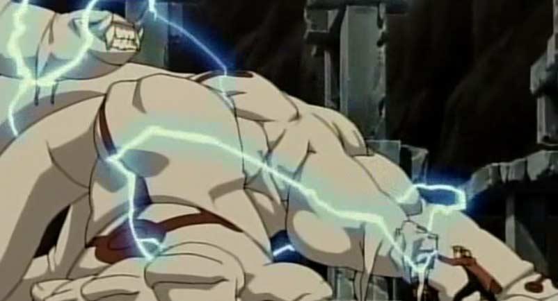 Comme Gluttony et Wrath sont immobilisés sur le cercle de transmutation, Alphonse peut transmuter leur corps pour ouvrir La porte de la Vérité