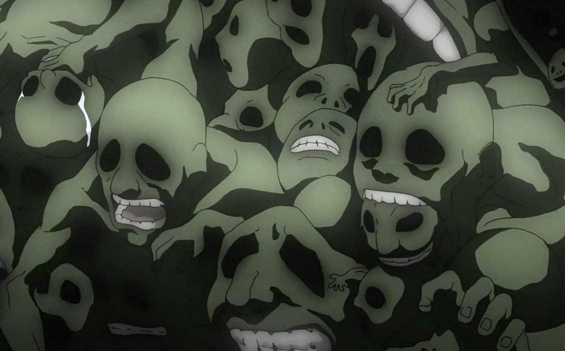 Le corps d'Envy est recouvert des corps des âmes torturés des habitant de Xerxes qui ont servi à faire la pierre philosophale