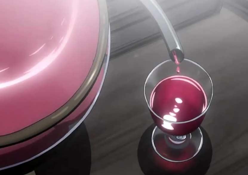 après un processus de filtrage, la pierre philosophale de Greed ressort sous forme d'un liquide rouge que Père va boire.