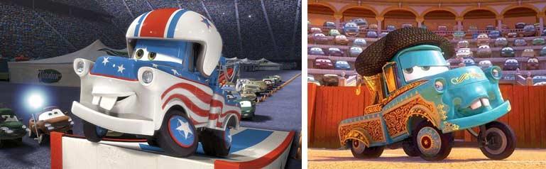 Martin (Mater - Pixar) déguisé en cascadeur et en matador
