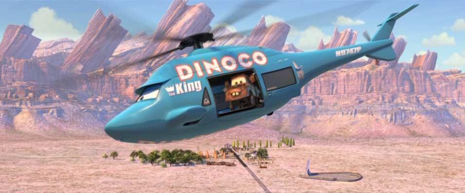 l'hélicoptère de Dinoco s'appelle Rotor Turbosky, il s'agit d'un Sikorsky S-70