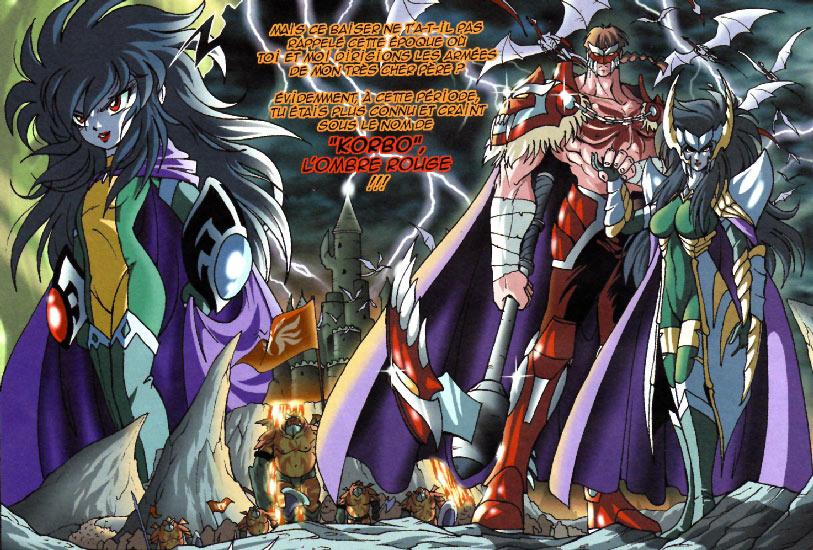 Razzia s'appelait Korbo l'Ombre Rouge du temps où il travaillait au service de Darkhell. Il était amoureux de Ténébris la fille de Darkhell