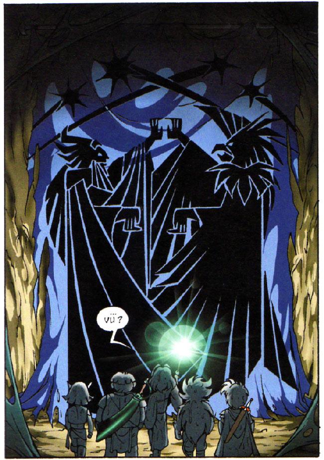 Cette tapisserie évoque le combat entre Darkhell et Skroa pour la domination d'Alysia