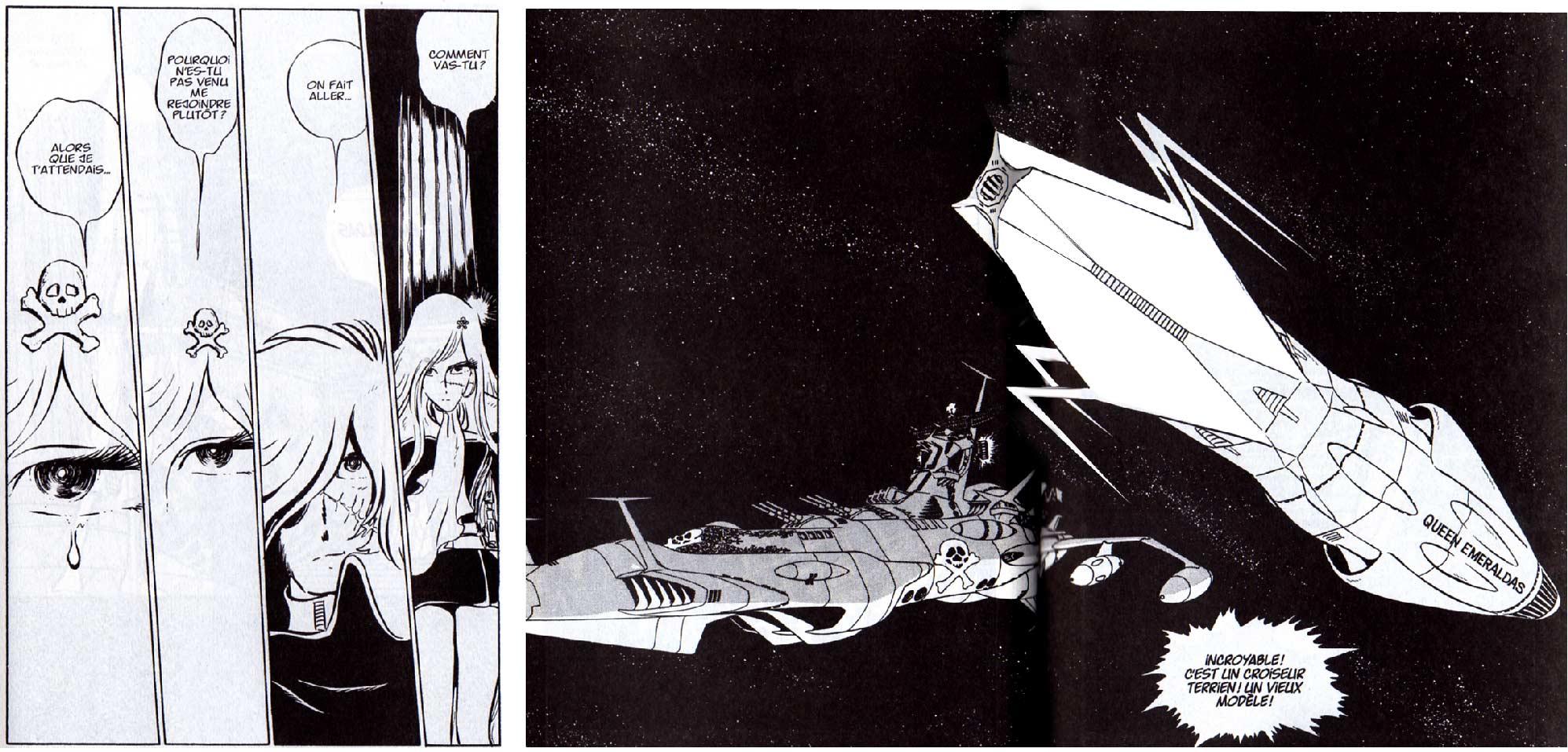Le design du Queen Emeraldas était très différent lors de sa première apparition dans le manga Capitaine Albator de 1977