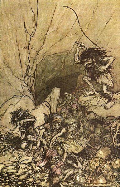Illustration d'Alberich dominant les nibelungen faite en 1910 par Arthur Rackham
