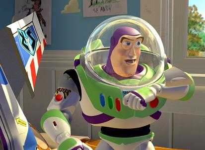 Buzz à la sortie de son vaisseau spatial