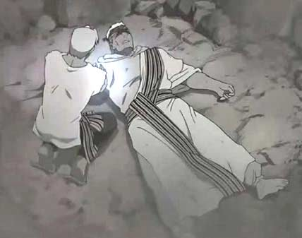 Le frère de Scar lui transmute son propre bras et ses yeux,donnant sa vie pour sauver celle de son frère