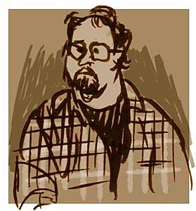 Joe Ranft dessiné par Ronnie del Carmen (collègue de Pixar)