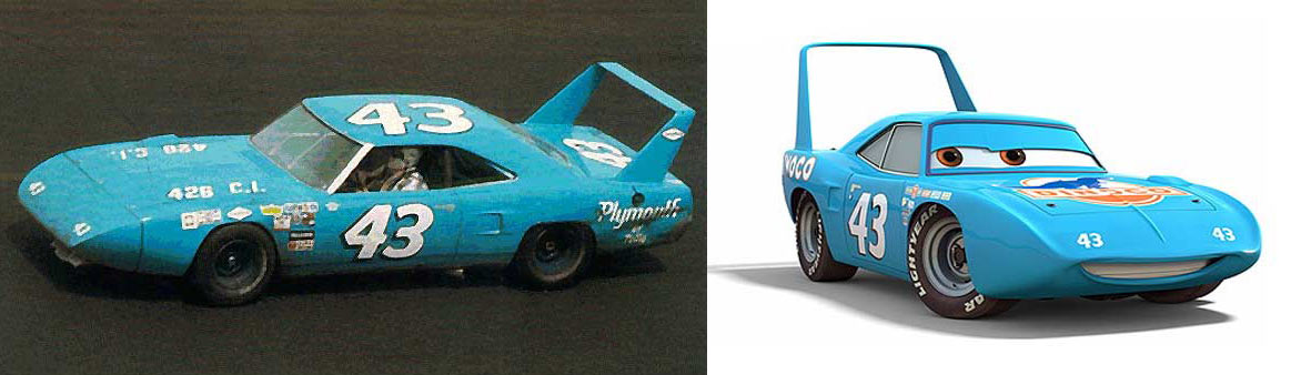 la Plymouth Superbird et sa version tiré du film Cars