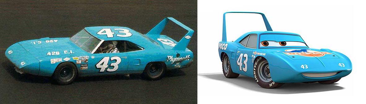 La voiture originale et le personnage de King tiré de Cars
